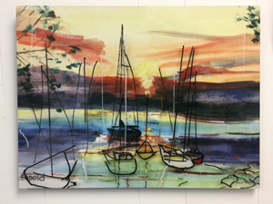 Metal Print: Sunset Boat Sketch